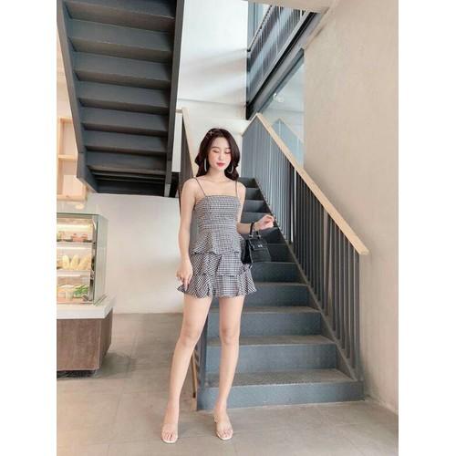 Đầm kate nữ xếp tầng