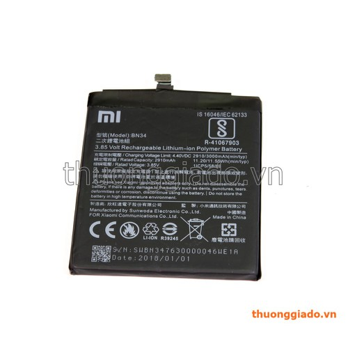 Pin  xiaomi redmi 5A BN34 - 11173177 , 18022332 , 15_18022332 , 128000 , Pin-xiaomi-redmi-5A-BN34-15_18022332 , sendo.vn , Pin  xiaomi redmi 5A BN34