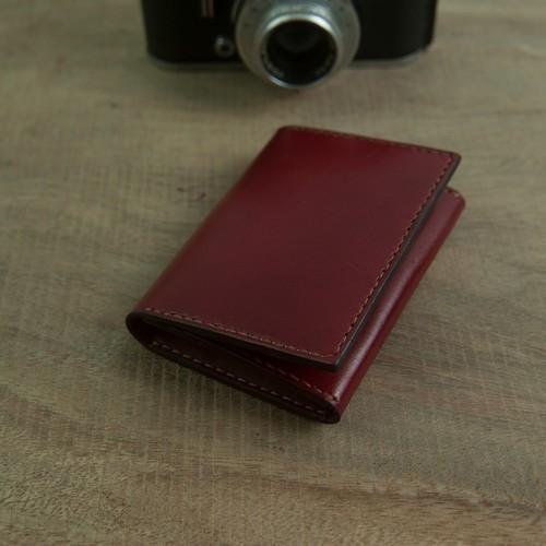 Bóp nữ mini - da bò nhập khẩu - màu đỏ đô - sản phẩm thủ công DT245