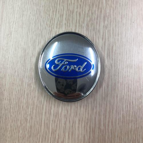 Logo chụp mâm bánh xe ô tô Ford FORD60  màu bạc -1 chiếc