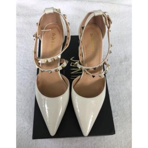 Giày cao gót bít mũi dây chéo tán đinh hàng Quảng Châu full hộp