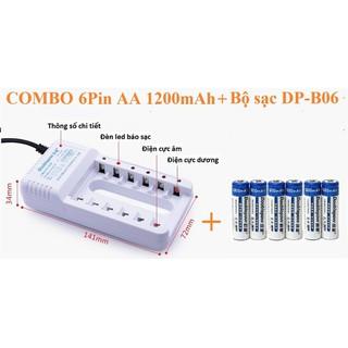Combo 6 viên pin sạc 2A dung lượng 1200mAh chuyên dụng cho Micro Doublepow tặng kèm Bộ sạc pin 6 khe đa năng - 6pin1200mAh+B06 thumbnail