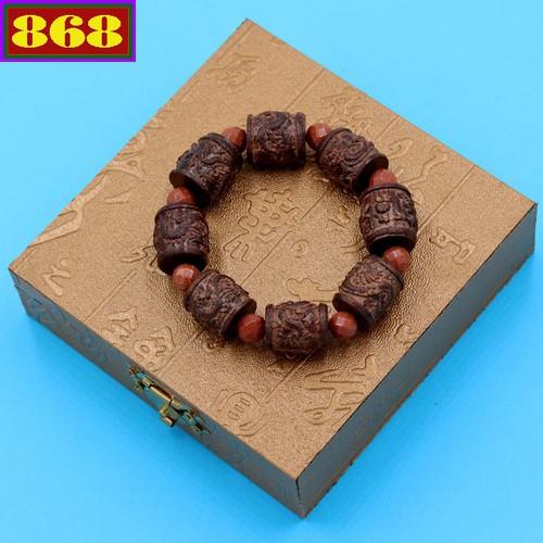 Vòng chuỗi trụ rồng gỗ đàn hương TRNT23 kèm hộp gỗ
