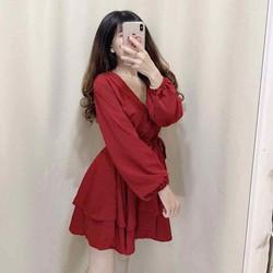 váy voan đỏ cột eo