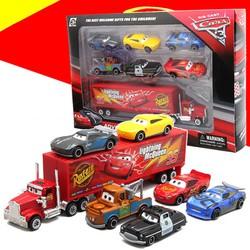Bộ đồ chơi trẻ em xe mô hình bằng Hợp Kim gồm 6 xe con và 1 xe tải lớn Lightning MC Queen