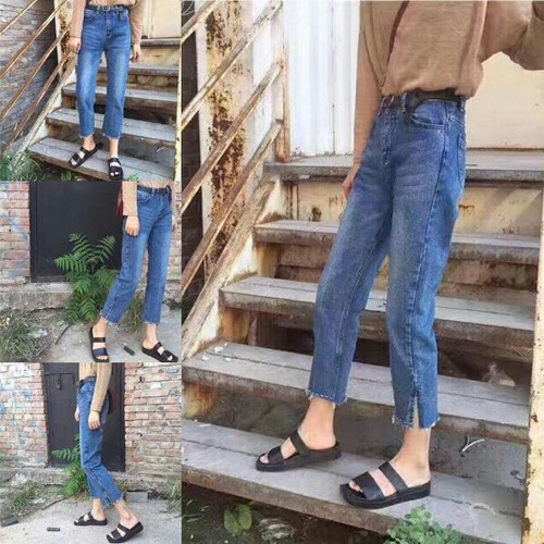 Quần baggy jean dài nữ tính