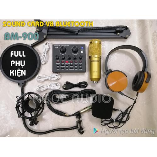 Bộ live stream sound card V8 Bluetooth và Micro Bm 900 full phụ kiện