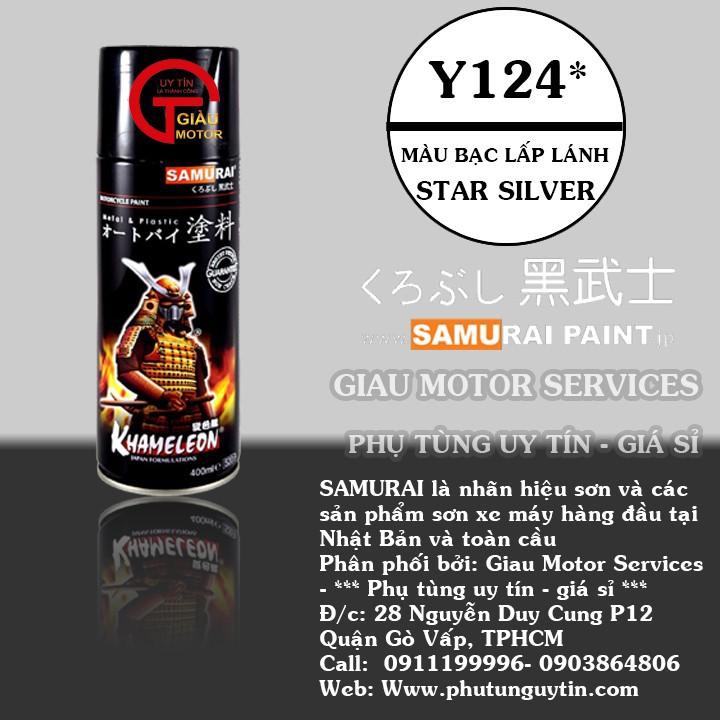 y124 _ Chai sơn xịt sơn xe máy Samurai 3-y124 màu bạc _ Silver _  Shop uy tín, giao nhanh, giá rẻ _ Best Seller - Giàu 0911199996 - www.phutunguytin.com  1