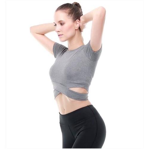 Áo croptop dây chéo tập Gym Yoga