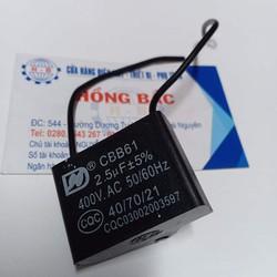 01 Tụ điện 2.5 MF vuông dùng cho quạt và thiết bị điện khác