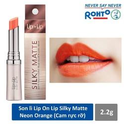Son Lì Siêu Mịn Lip On Lip Silky Matte 2.2g. Màu Đỏ Cam, chuẩn màu, hiện đại