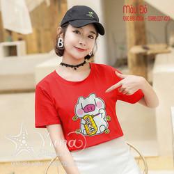 [Mua 2 Áo Tặng 1 Khẩu Trang Su Dày Kháng Khuẩn] Áo Thun Heo Con Bông Thêu Cao Cấp - Yuna Boutique