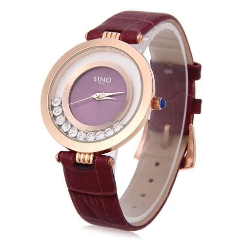 Đồng hồ nữ Sino 8333 Japan dây da đính đá cao cấp - Sang Trọng