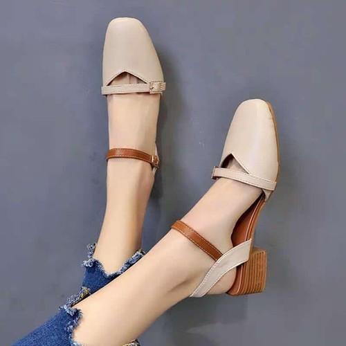 Sandal gót vuông 3p tiểu thư màu kem