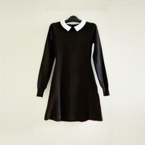 Đầm len dáng xòe màu đen DLX295DE