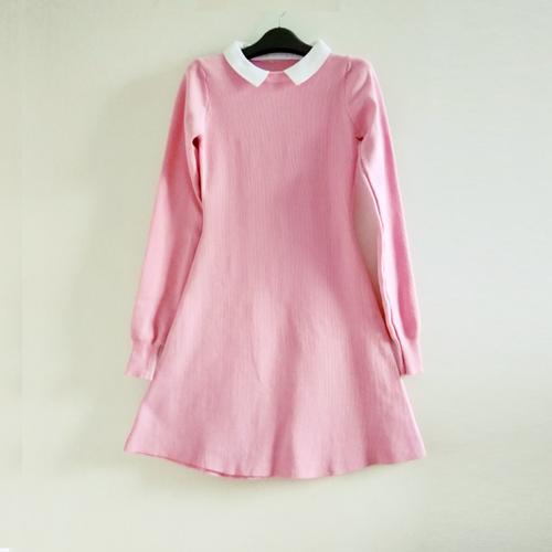 Đầm len dáng xòe màu hồng phấn DLX295H