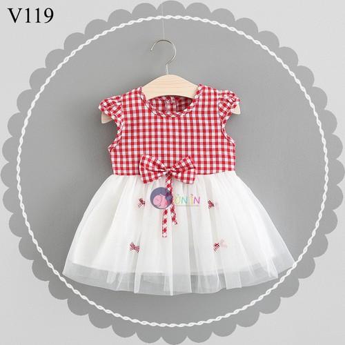 V119 - Đầm Caro Đỏ Đính Nơ