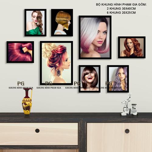 [Kèm Ảnh] Bộ Khung Hình Treo Salon Tóc Nữ Cực Đẹp Tặng Kèm Sơ Đồ Treo, Đinh Treo Tranh - Khung Hình Phạm Gia PGC253