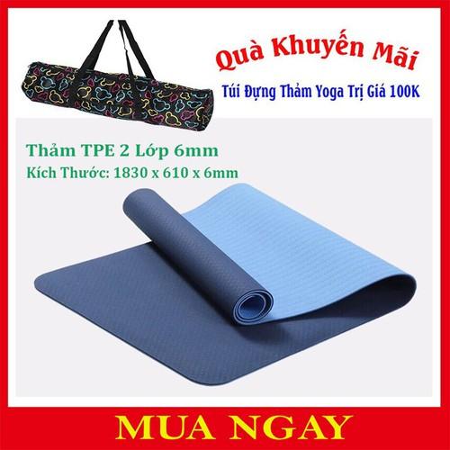 Thảm Yoga TPE 2 Lớp 6mm Cao Cấp + Tặng Kèm Túi Đựng