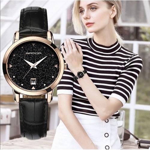 Đồng hồ nữ dây da cao cấp SANDA JAPAN siêu sang