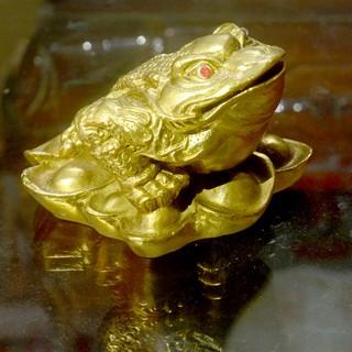 Tượng Cóc Ba Chân ngậm tiền-Thiềm Thừ cầu tài lộc bằng đồng cỡ 6cm - 86464 thumbnail