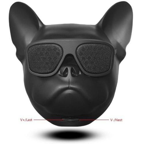 Loa Bluetooth hình đầu con chó đeo kính - Màu đen Âm thanh sống động