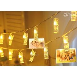 Bộ dây đèn led kẹp ảnh dài 300cm 30 kẹp màu vàng ấm
