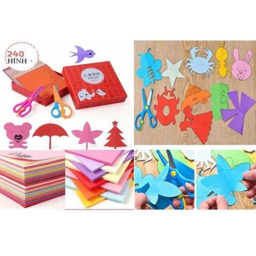 Bộ đồ chơi cắt giấy tạo hình an toàn cho bé gồm 240 tờ và 2 kéo
