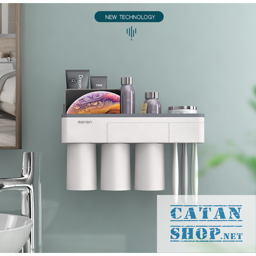 Giá Treo bàn chải dán tường phòng tắm sang trọng, kệ treo bàn chải và ly súc miệng nam châm