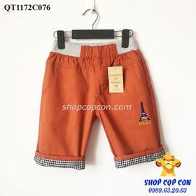 Quần lửng kaki bé trai màu gạch chữ Pari 36-48kg - QT1172C076