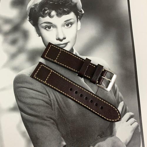 Dây da đồng hồ handmade - Chất liệu da bò - Màu nâu - Sản phẩm thủ công DT272