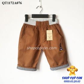 Quần lửng kaki bé trai màu nâu chữ Pari 36-48kg - QT1172A076