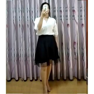 Chân váy xòe ren lưới chấm bi màu đen CVR235DE - CVR235DE thumbnail