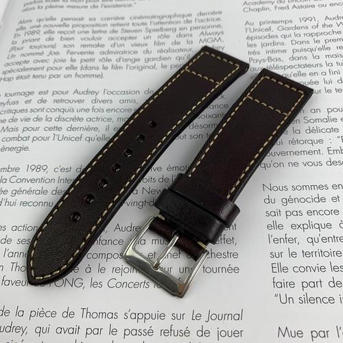 Dây da đồng hồ - da bò thật - màu nâu - sản phẩm handmade MC237