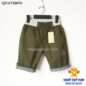 Quần lửng kaki bé trai màu xanh rêu chữ Pari 36-48kg - QT1172B076