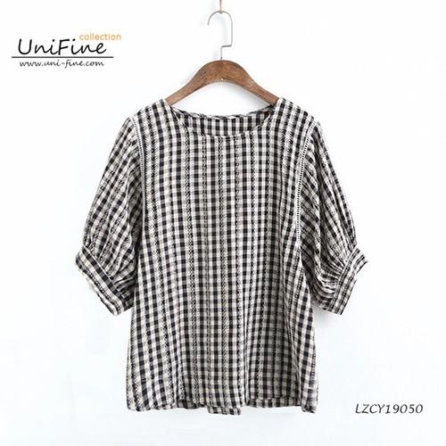 áo kiểu nữ caro tay bo -LZCY190501