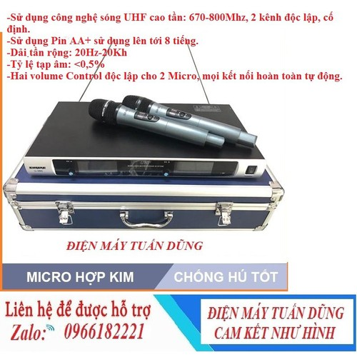 MICRO KHÔNG DÂY KARAOKE - Microkhông dây Shu.re U 980 Hộp nhôm