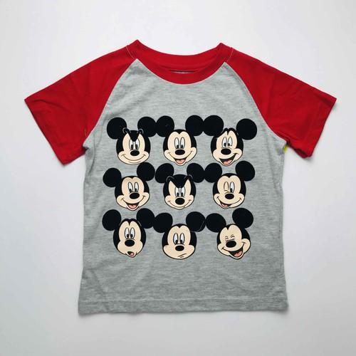 Áo Cotton Ghi Tay Đỏ Nhiều Mặt Mickey Cho Bé Trai