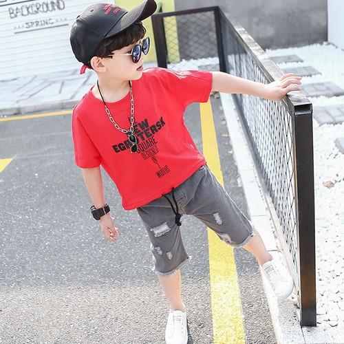 Quần áo bé trai họa tiết chữ - quần áo bé trai Xuân - Hè