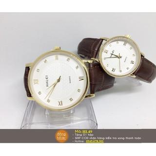 Đồng hồ đôi dây da Halei chống nước - HL49 đôi nâu mặt trắng thumbnail