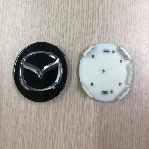 Logo chụp mâm, lazang bánh xe Mazda đường kính 57mm MAD57 màu đen - 1 chiếc