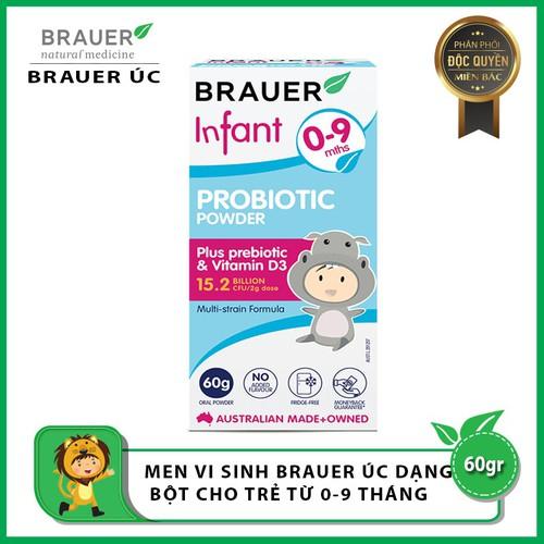 Men vi sinh Brauer Úc dạng bột dành cho trẻ từ 0 - 9 tháng tuổi 60g