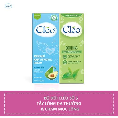 Bộ đôi Kem tẩy lông Cléo da thường 50g và Gel dịu da Cléo giúp chậm mọc lông 50g