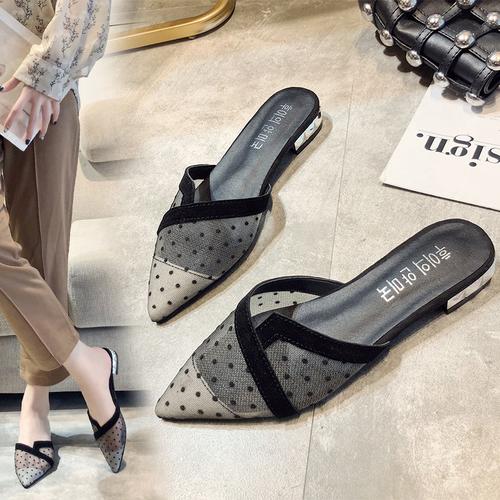 Giày Sục Nữ Chấm Bi Lưới Thoáng Khí