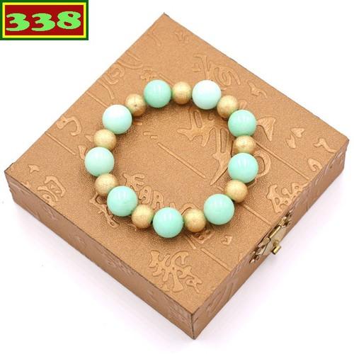 Vòng tay ngọc bích xanh 12 ly VNBXHVM1 kèm hộp gỗ - Chuỗi đeo tay đá phong thủy