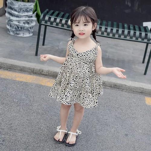 Váy hai dây bé gái da báo