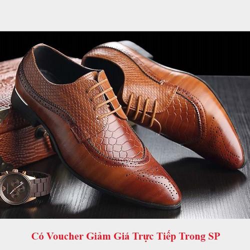 Giày Tây Công Sở Nam Cao Cấp Dây Buôc BT33 - Màu Nâu Da Thật