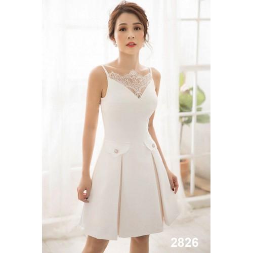 Đầm xòe trắng phối ren 2826