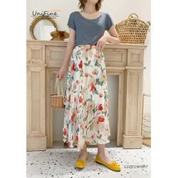 váy nữ lưng thun họa tiết hoa lạ mắt