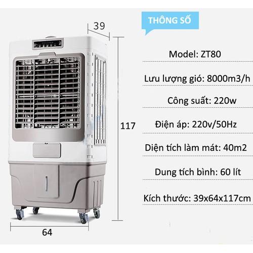 Quạt điều hòa AKYO ZT 80 nhập khẩu thái lan công xuất lớn 200w